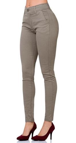 Pantalon S Candia Mujer Beige Gabardina Stretch 2693 Salvaje Tentacion St
