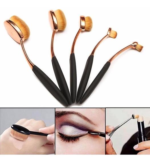 Kit Pincel Escova Oval 5 Unidades Contorno Base Maquiagem