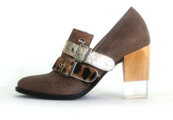 Zapatos Stilletos Mujer Oficina Cuero Marron Leblu 670