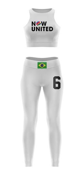 Conjunto Now United Infantil Cropped E Calça Legging Membros