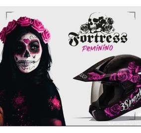Capacete Bieffe Feminino 3 Sport Fortress Preto Fosco Rosa