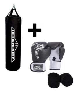 Kit Boxe Muay Thai Luva Bandagem Brazuca + Saco De Pancada