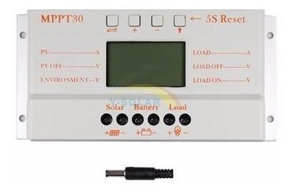 Controlador De Carga Solar Mppt 30a Lcd Usb 12-24v Regulador