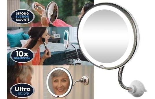 Espelho Led 360 Flexível Aumento 10x Ventosa Maquiagem Barba