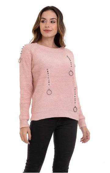 Suéter Kinara Tricot Argola Rosa