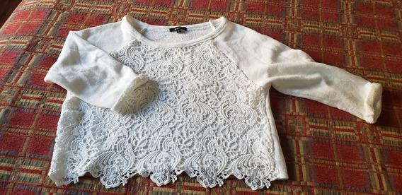 Sweater Corto Simil Encaje De Media Estación