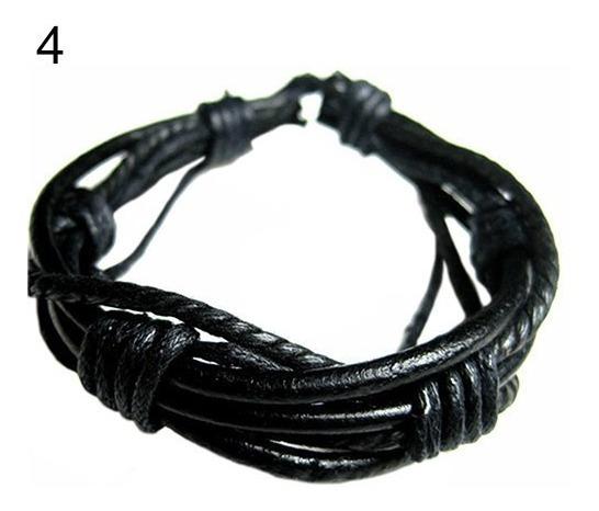Pulseira Bracelete Tribal Masculino Feminino Couro 648039