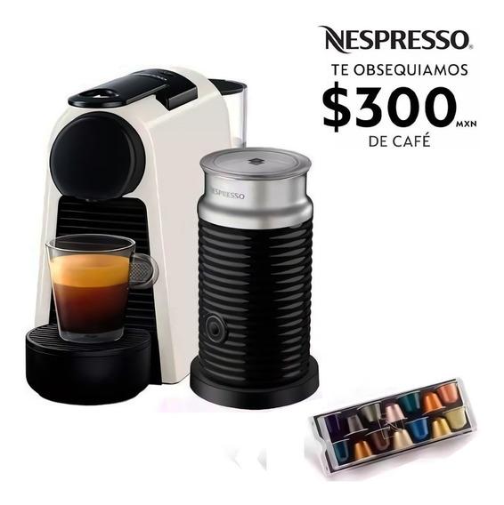 Cafetera Nespresso Essenza Mini Blanca Capuchino Espumador Leche Eco Friendly