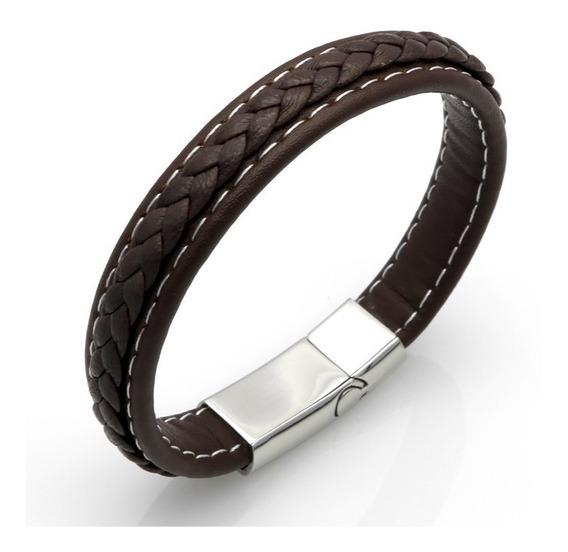 Pulseira Masculina Bracelete Couro Legítimo E Aço Inox 19 Cm