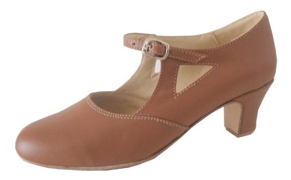 Zapato De Folklore Camel - Español - Jazz - Danza - Cuero
