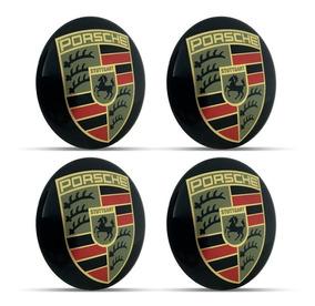 Jogo 4 Emblema Logo Adesivo Roda Porsche 69mm Resinado