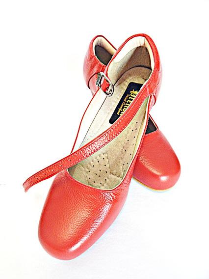 Sapatilha Prenda Couro Dança Salão Baile Salto 07 Vermelha