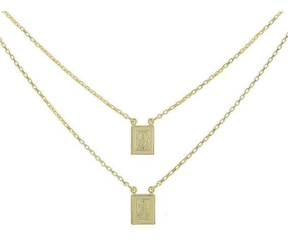 Escapulario Folheado A Ouro18k Unissex 60cm
