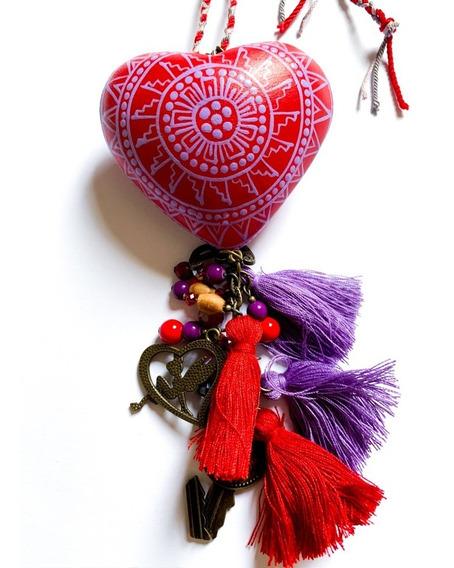 Colar Feminino Coração Madeira Pintado Artesanal Vermelho