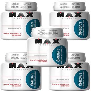 Kit 5x Ômega 3 - 450 Cáps - Óleo Peixe - Max Titanium