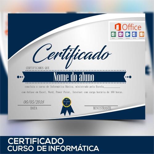 Certificado Informatica Diploma Curso De Informatica Mercado Livre