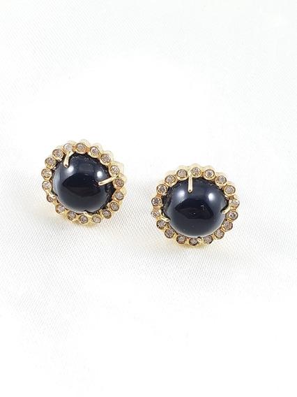 Brincos Inspired Macarrone Ouro Amarelo Com Onix E Diamantes