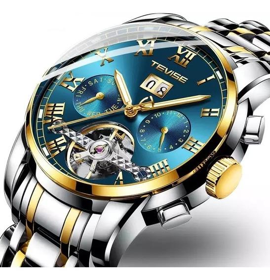 Tevise Relógio Turbilhão Mecânico Automático. Top De Luxo