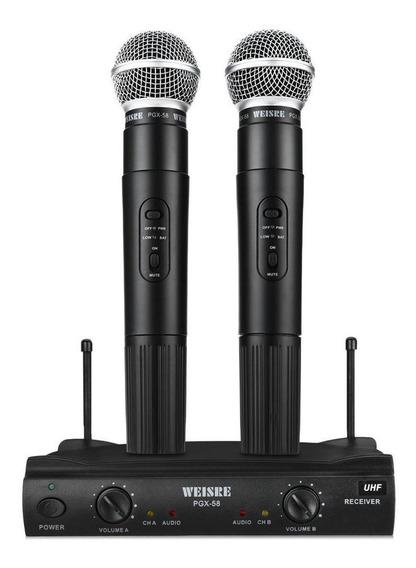 Kit de microfones Weisre PGX-58 dinâmico omnidirecional preto
