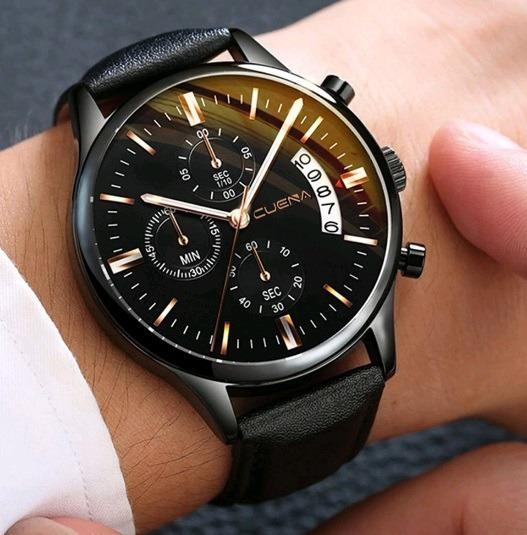 Relógio Masculino De Pulso Cuena Black Couro Preto Quartzo