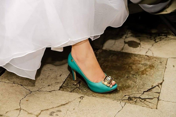Peep Toe Meia Pata Noiva Tiffany Salto Alto 10 Cm , Nº 34