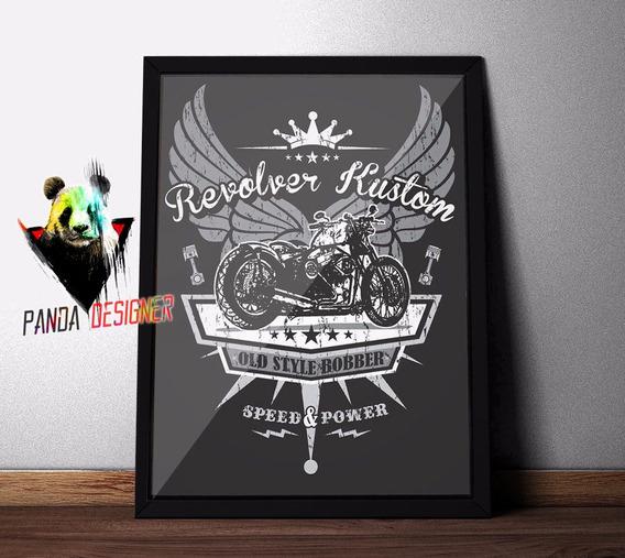 Quadro Harley Davidson Bobber Custom Decoração Com Vidro