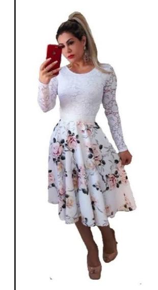 Vestido Moda Evangélica Godê Duplo Boneca+cinto Suplex Digit