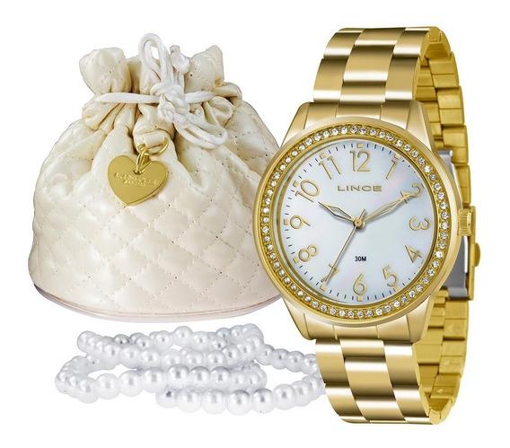 Relógio Feminino Lince Kit Dourado Folheado Lrg4375l K180