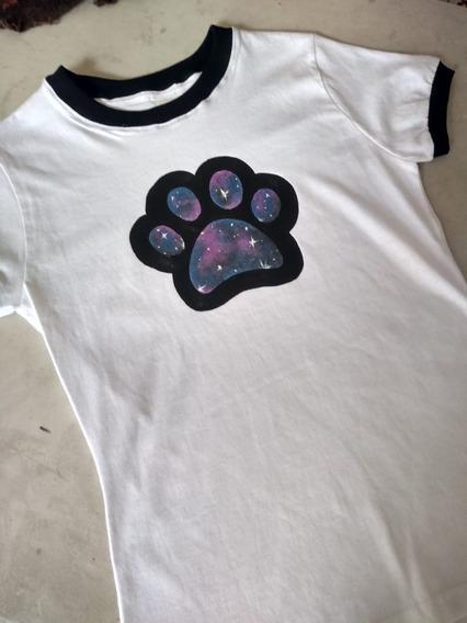Playera Perros Dog Galaxy Huella Galaxia Dama O Caballero