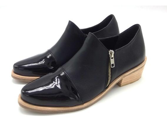 Botita Punta Cierre Moda Mujer Calzado Zapato Cuero 3015pm