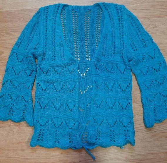 Saquito Saco Tejido A Mano Turquesa Crochet Talla S