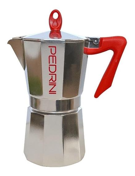 Cafetera Pedrini Kaffettiera 9 Pocillos Aluminio/Roja