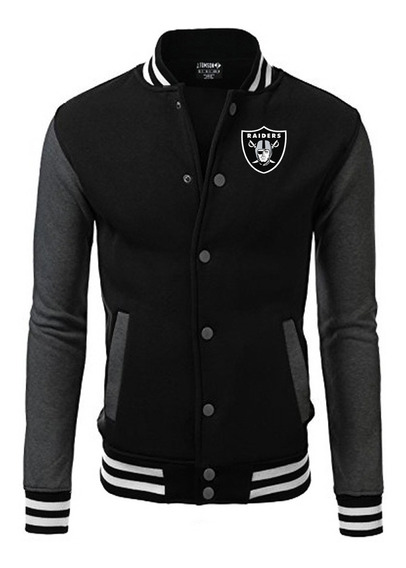 Raiders Jaqueta College Bordado Nfl Black Edition Americana