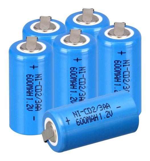 6 Bateria Recarregável Ni-cd 1.2v 600mah 2/3aa C/terminal