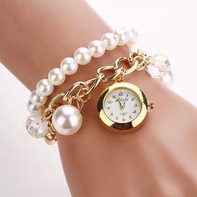 Mulheres Faux Pérola Rhinestone Relógios De Quartzo Analógic