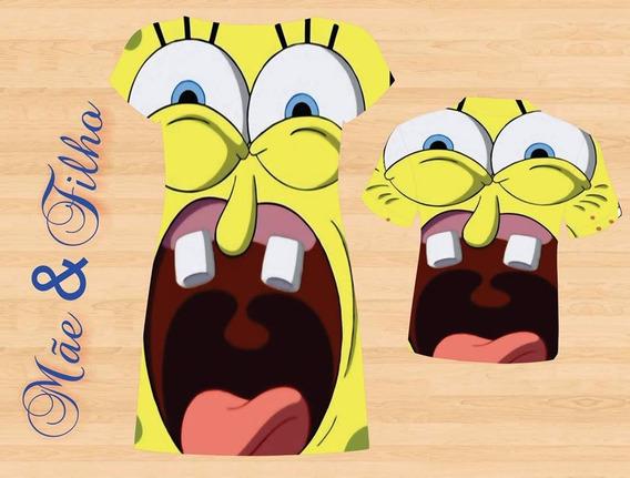 Vestido E Blusa Mãe E Filho - Sponge Bob Tema 3