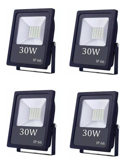 Kit 04 Refletor Holofote Led 30w Smd Slim - 2 Anos De Garantia - Prova D