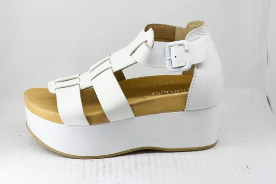 Sandalias Plataforma Mujer Paruolo Cuero Blancas