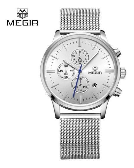 Relógio Megir 2011 Original Fino Malha Aço Todo Funcional