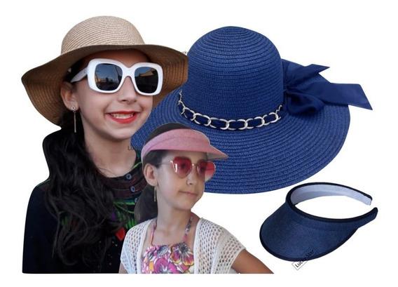 Viseira Infantil + Chapéu Praia 4 Até 8 Anos Menina Kit