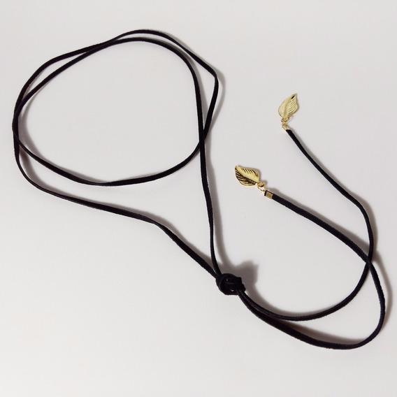 Choker Colar Voltas Laço Veludo 3mm Preto Folhas Douradas