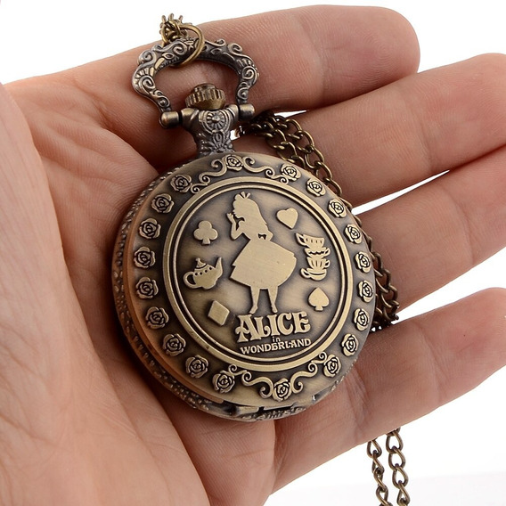 Relógio Bolso Alice No País Das Maravilhas Bronze Presente