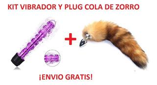 Kit Vibrador Y Plug Anal De Cola De Zorro Acero Inoxidable