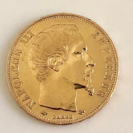 Moeda Ouro Maciço 0,900 20 Frank Napoleão Bonaparte 1859