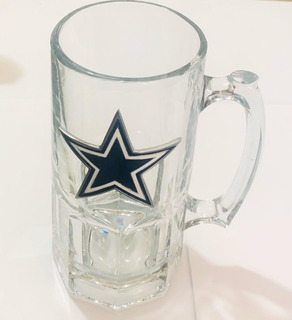 Tarro Vidrio Alto Cowboys Dallas Logo Metalico Original Nfl