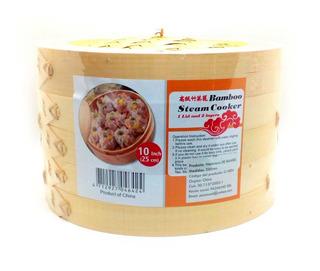 Vaporera De Bambu 25cm 2 Pisos + Tapa Cocina Saludable
