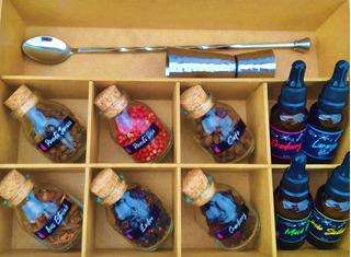 Caixa Com Especiarias Para Gin Tônica Dosador Colher Inox