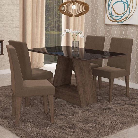 Conjunto Sala De Jantar Mesa Alana 4 Cadeiras Milena - Cimol