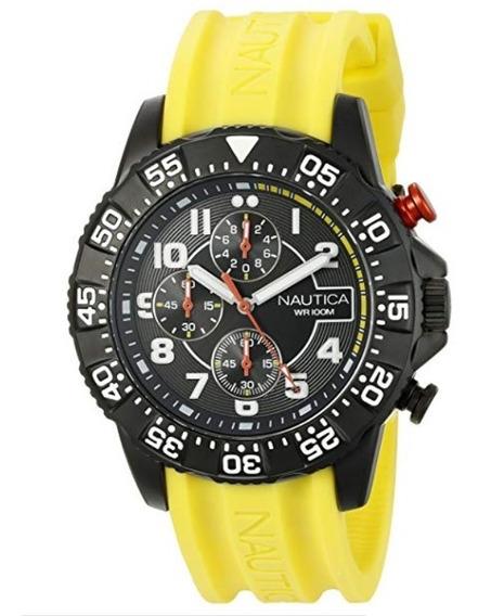 Relógio Nautica Nad17515g Nsr 104 Pulseira Amarelo