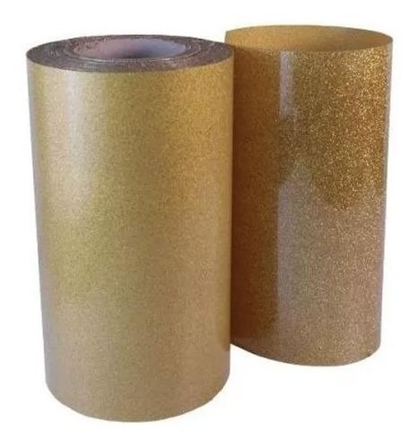 Vinilo Textil Glitter Escarchado Dorado  1mx50cm Americano